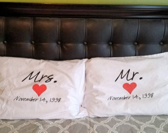 Mr and Mrs Pillow Cases personalized with wedding date Mr and Mrs Pillowcases Couples Gift Idea