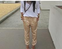 Sale Sequin Leggings, Sequin pants, Women trousers, Bridesmaids trouser, sparkling pants, New year eve trousers, Gold sequin pants