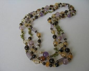 Amethyst, smokey quartz and peridot necklace.