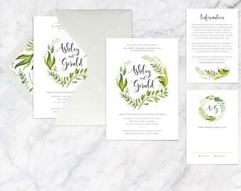 Wedding Invitation Set Printable, Green Fern Leaves Wreath Wedding Invitation Set, Botanical Watercolor Wedding Invitation Set