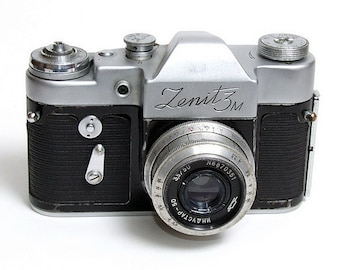 Vintage film camera The Zenit 3M, Зенит 3М ,  Russian camera with original leather case, Made in USSR.