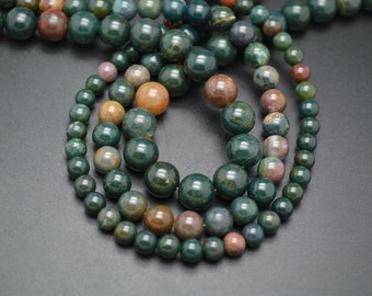 1strand 6mm 8mm 10mm Natural Green Blood Stone Round Loose Beads DIY Jewelry making materials