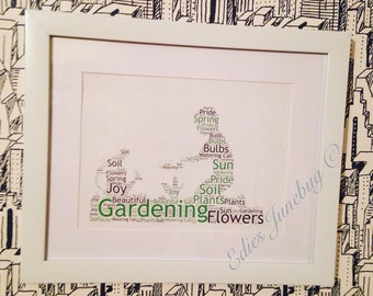 Gardeners Word Collage Print, Granding Gifts, Landscape Gardener, Couples Gifts, Anniversary Gifts, Allotment Fan, Unique Christmas Present