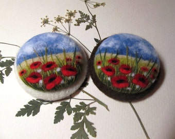 Needle felted poppy brooch Felt brooch  Needle felted landscapes brooch Felt jewelry Red handmade jewelry Wool flower brooch Poppy brooch