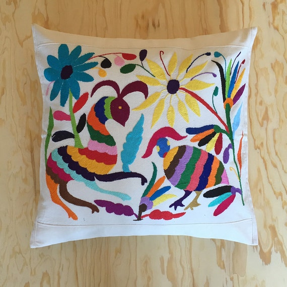 Animals motif pillow colorful mexican hand by mxhandspace Mexican embroidered bedding