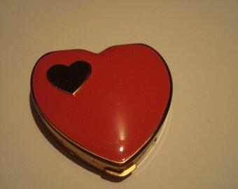 Vintage heart shaped enamel compact