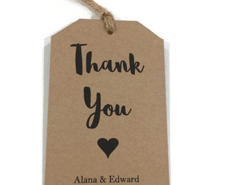Personalised gift tags | thank you tags wedding | personalised thank you tag | thankyou kraft tags | rustic favour tag | boho favour tag |