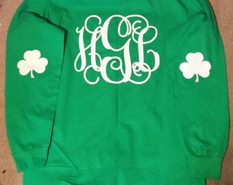 Monogrammed,  St. Patricks Day Shirt, Glitter, Adult, Youth, Personalized