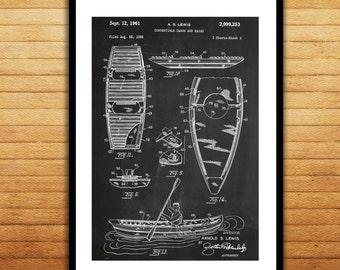 Canoe/Kayak Patent, Canoe Poster, Canoe Blueprint,  Canoe Print, Canoe Art, Canoe Decor p070