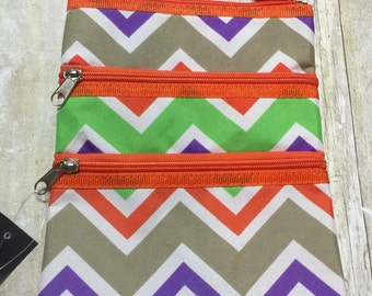 monogrammed crossbody purse orange, gray, and green chevron