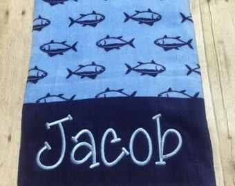 Monogrammed Embroidered Beach towels personalized beach towel blue navy shark style swimwear