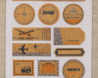 SALE -  travel themed craft sticker sheet -2  sheets - journaling/collage/letter decoration