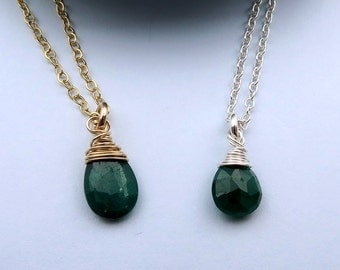 Emerald Necklace, May Birthstone Necklace, Emerald Jewelry, May Birthday Necklace, Emerald Drop Necklace, Emerald Pendant
