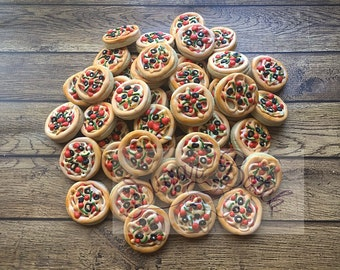 2 Dozen Mini Pizza Shaped Decorated Cookies Set
