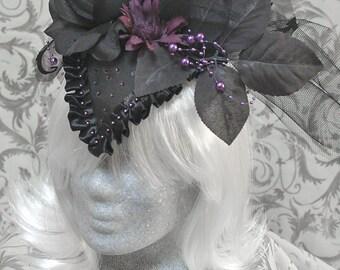 Large Fascinator, black ans purple, with rhinestones