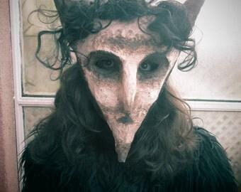 Mask paper mache Lupercalia white demon