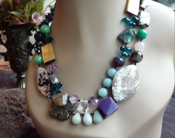 Two strand beaded faceted assorted semi precious stones necklace
