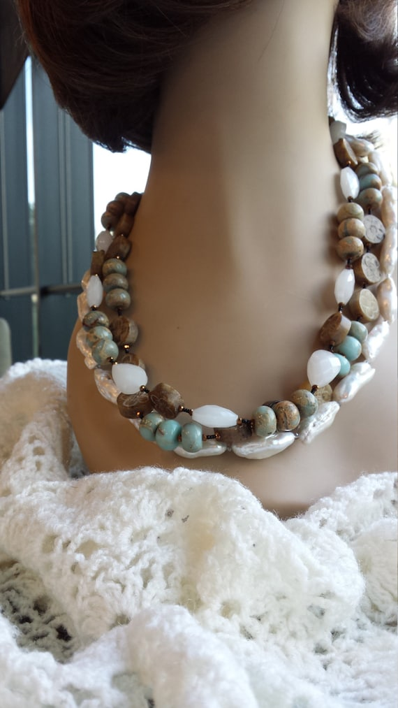 Three strand Semi-precious stone necklace made with jade, freshwater pearls and artist glass beads