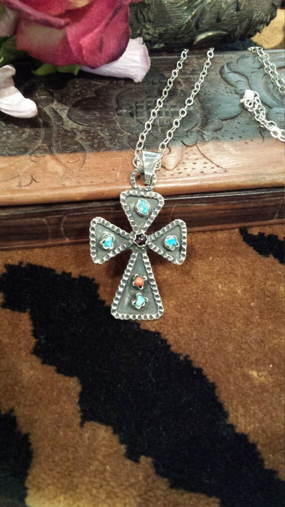 Sterling silver vintage artist made cross with turquoise, coral and amythyst center stone with sterling silver chain