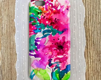 Bright Floral Watercolor Phone Case Watercolor Floral iPhone case Watercolor Samsung Floral Case Hot Pink iPhone 6s Hot Pink S7 S6 S5