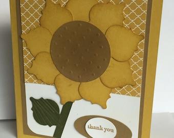 Sunflower Handmade Thank You Greeting Card!