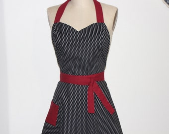 Retro Apron Sweetheart Neckline Black and White Polka Dot with Red Contrast - Full Apron .