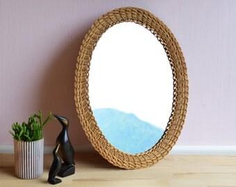 Vintage MIRROR   Wall mirror   50s   Rattan