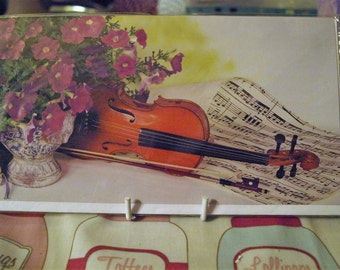 Violin and Petunias Card