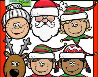 Santa and Elf Faces Clip Art Set - Chirp Graphics