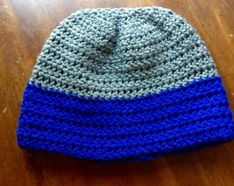Crocheted blue and grey hat