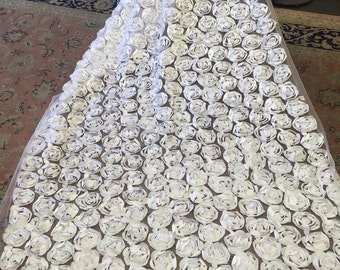 60 in w Large White satin rosettes on white mesh Fabric by the yard