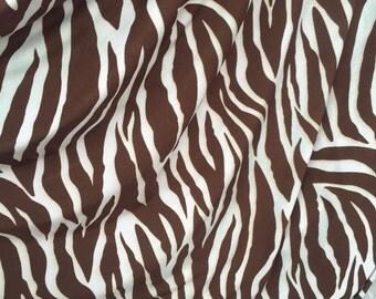 "100% Polyester stretch Brown zebra pattern 60""w Fabric by the yard"