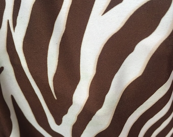 100% Polyester 4 way stretch Brown zebra pattern Fabric by the yard