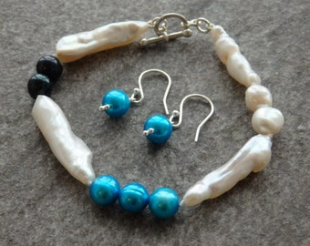 White Pearls, Freshwater Pearl Jewellery, Pearl Bracelet, Pearl Earrings, Contemporary Pearls