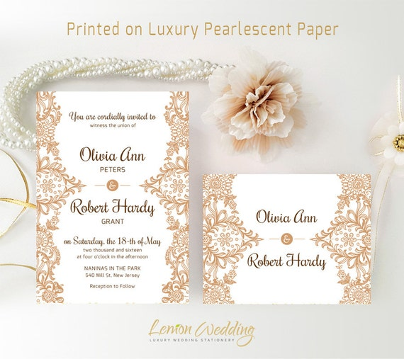 Cheap Cardstock For Wedding Invitations : ... Brown wedding invitation with RSVP Lace wedding invitations cheap