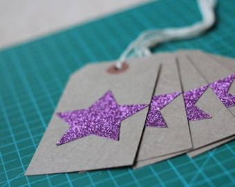 Pink Glitter Star Gift Tag