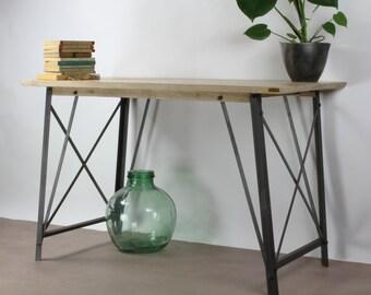 KONK! - INDUSTRIAL Slim Angle Oak Desk Table [Bespoke sizes!] Rustic Reclaimed Vintage