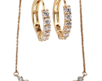 Simple delicate crystal necklace earrings sets