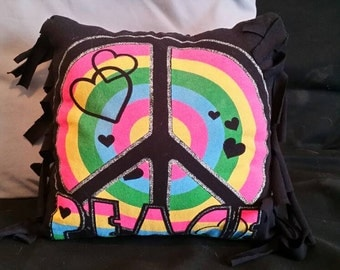 """Recycled """"Peace"""" tshirt pillow"""