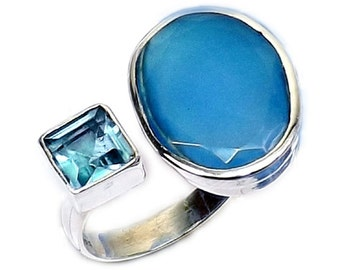 Blue Chalcedony Ring, Fine Silver Ring, Adjustable Ring, Handmade Ring, Blue Topaz Ring, Bezel Set Ring, Statement Ring, Gemstone Ring