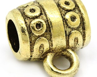 "100PCs Bail Beads Gold Tone Circles Carved Bucket Shape 9mm x 10mm(3/8""x 3/8"")"