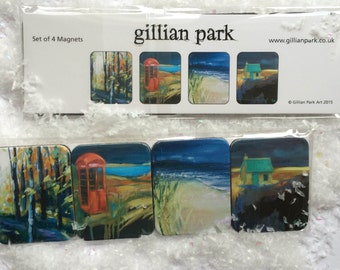Set of 4 Magnets featuring Autumn paintings