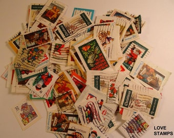 Christmas Postage Stamps - Cancelled - Use For Craft Projects