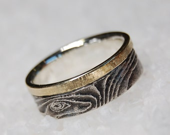 Hill of Sand Ring, Natural Inspired Ring, 14K Gold Inlay Ring, Gold Wedding Band, Mens Wedding Ring, Unique Wedding band, Gold Ring