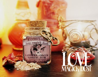 Love Attracting Incense *Aphrodite's Wish* Witchcraft Magick Dust with herbs, resins and crystals -Lavender,Rose,Ginger,Yarrow & Rose Quartz