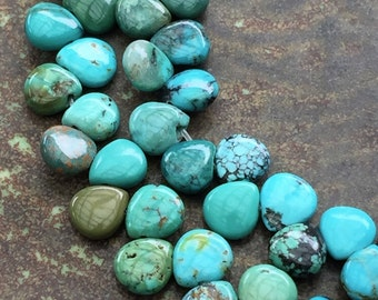 Turquoise Briolette Beads 6mm Natural Chinese Turquoise Package of 10 Pieces
