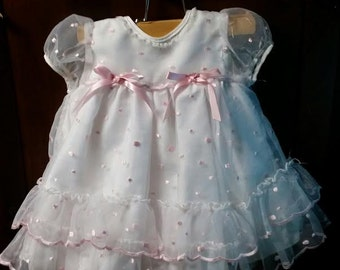 Most adorable little baby girl, pink poke -a - dot sheer lace dress vintage ever.