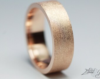 10k Solid Rose Gold Wedding Band, Matte Wedding Band, Brushed Wedding Band, 6mm, Matte Finish Flat Band