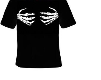 skeleton hands t shirt holding chest cool shirts