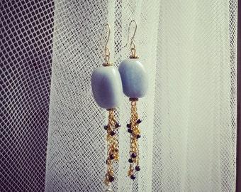 Large angelite dangle earrings